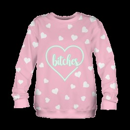 Wilky Bitches hearts pulóver